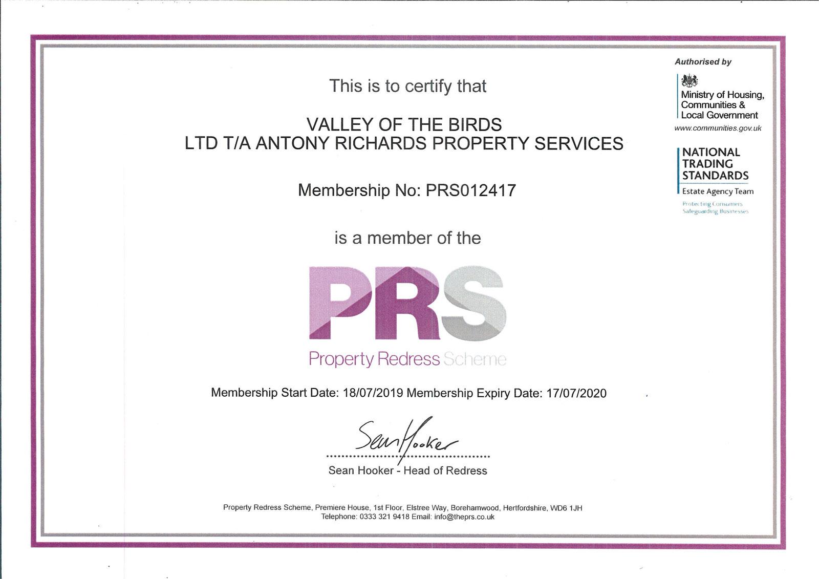 Property-Redress-Scheme-Certificate